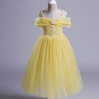 Meninas Vestido Amarelo Cor Off-Ombro Crianças Trajes para Meninas Do Partido Da Princesa Belle Beauty and The Beast Fancy Dress para Bailes de Formatura