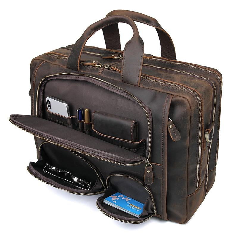 HTB1aqOCQHvpK1RjSZPiq6zmwXXaW MAHEU Vintage Leather Mens Briefcase With Pockets Cowhide Bag On Business Suitcase Crazy Horse Leather Laptop Bags 2019 Design