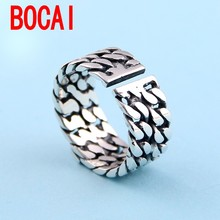 sterling silver ring, women's Day Korean version, engraved brand, fashion do old woven rings, silver jewelry students