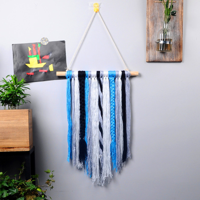 macrame wall hanging nordic  long pink blue women girl room decoration black macrame tapestry hanging home photo wall hanging