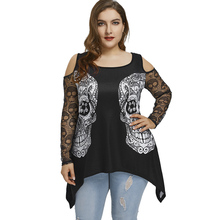 453345927d8 Gamiss Plus Size Skulls Cold Shoulder Long Sleeve Ladies Women Black Casual  T-Shirts