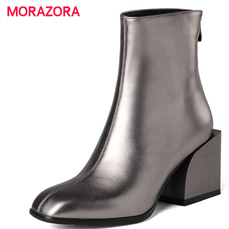 MORAZORA 2018 new fashion high heel ankle boots for women autumn winter square toe genuine leather boots simple zip knight boots autumn and winter high quality new arrive genuine leather simple zip ankle boots fashion round toe sweet women boots