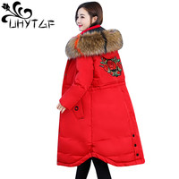 UHYTGF Plus size L 5XL Winter Jacket Women parka feminina Thick Warm Coats Female Jackets Faux Fur Down Cotton Coat Overcoat 104