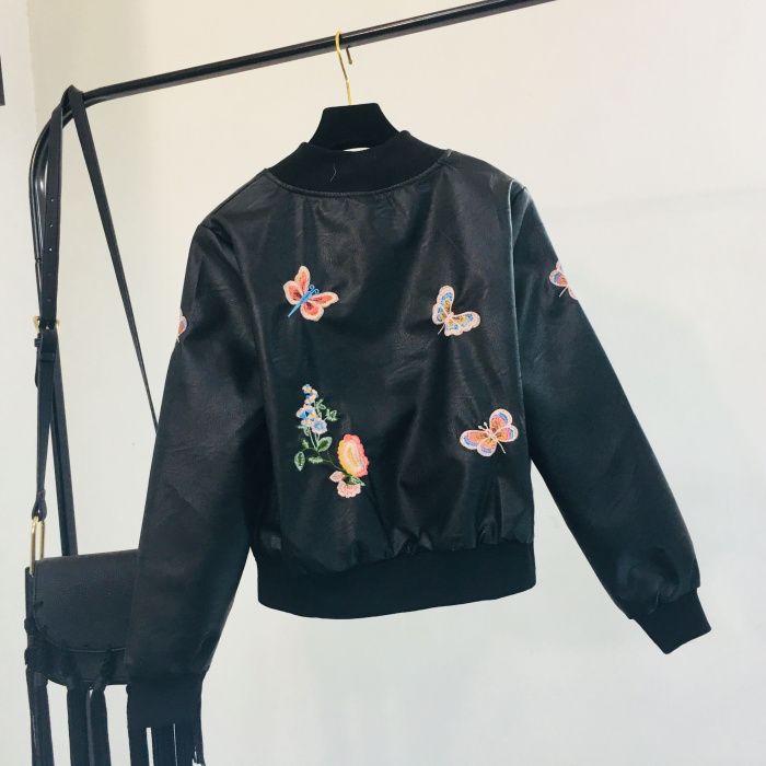 Jacket Female Embroidery Short Locomotive Pu Leather Coat Jackets Black Student 2018 Floral Autumn Winter Woman's Slim Butterfly New qyUZFR
