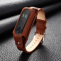 Teyo Leather Strap Replacement For Xiaomi Mi Band2 Wrist Strap Xiaomi Mi Band2 Smart Bracelet Accessories