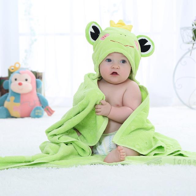 Animal bonito dos desenhos animados de algodão do bebê do miúdo com capuz bath towel criança cobertores/bebê roupão de banho/infantil toalhas de praia 100x100 cm