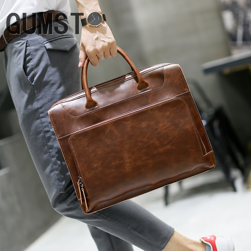 GUMST Men's Briefcase Handbag Crazy Horse Pu Leather Messenger Travel Bag Business Men Tote Bags Man Casual Crossbody Briefcases