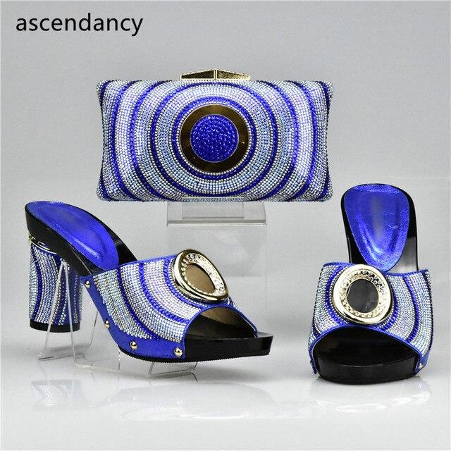 a49a750bd4baa New Arrival Niebieski Kolor Pasujące Buty i Torby Set ozdobione Rhinestone  Afryki Kobiety Włoskie Buty i