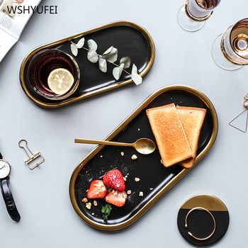 2Pcs Direct sales Nordic oval Phnom Penh ceramic plate household storage jewelry necklace earrings tray Western steak plate