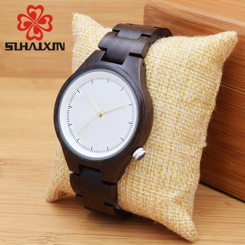 SIHAIXIN Wood Wrist Watch For Women 2017 Luxury Brands Lady Watches Black Wooden Band With Gift Box Japan Quartz Watch OEM Clock dwg brand new wooden watch japan quartz movement rhinestone lady fashion wrist watches for women natural solid wood strap clock