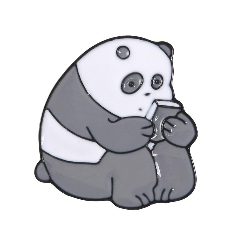Булавка в виде животных из мультфильма голые медведи Милая гризли панда ледяной медведь джинсовые эмалированные булавки Kawaii нагрудные броши значки модные подарки - Окраска металла: panda