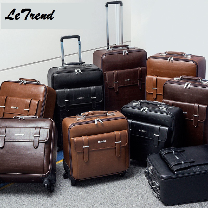 LeTrend New PVC High Wheel Luggage Metal Trolley Bag Men Hand Trolley Men Large Capacity Travel Bags Suitcase Rolling Luggage letrend waterproof travel bag large capacity folding suitcases wheel trolley women rolling luggage handbag