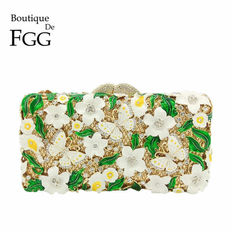 Бутик De FGG зеленый белый цветок бабочка женские вечерние сумки Хрустальная коробка Minaudiere кошелек свадебная сумочка Свадебная вечеринка клатч