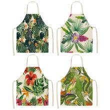1Pcs Kaktus Tropische Pflanzen Küche Schürze für Frauen Hause Kochen Backen Kaffee Shop Baumwolle Leinen Reinigung Schürzen 53*65cm MP0002