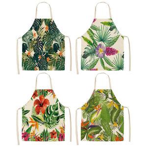 Image 1 - 1Pcs קקטוס צמחים טרופיים מטבח סינר לנשים בית בישול אפיית קפה חנות כותנה פשתן ניקוי סינרי 53*65cm MP0002