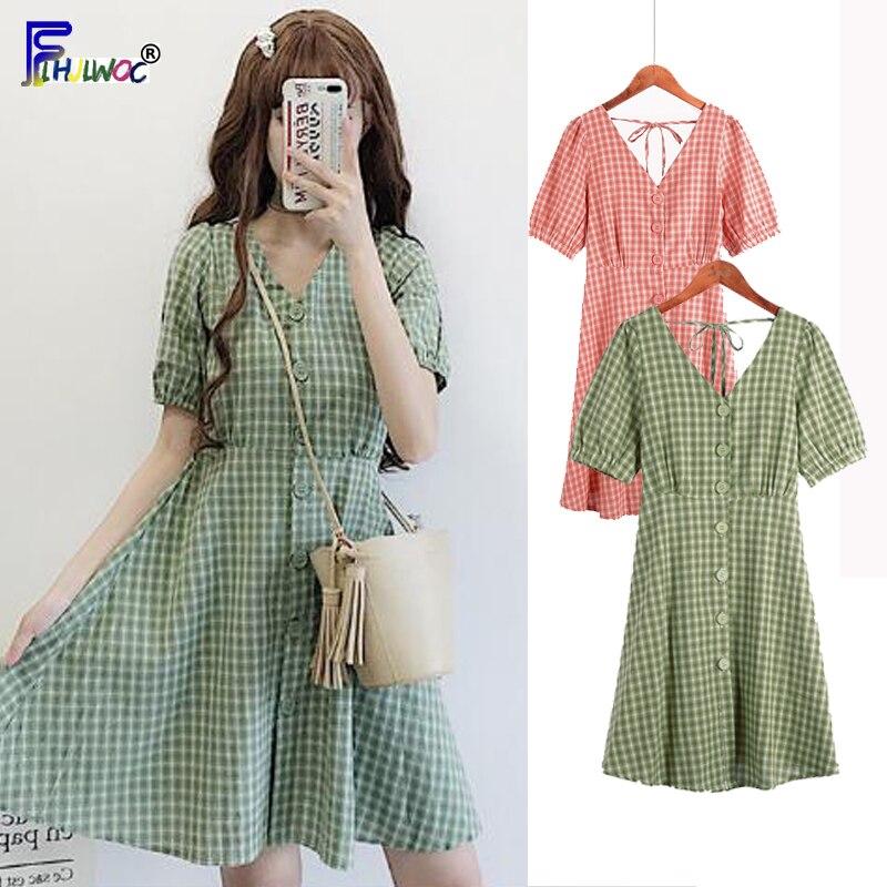 Cute Mini Dresses Woman Summer Short Sleeve Slim Waist A Line Japan Style Design Sweet V Neck Pink Button Shirt Dress Cotton