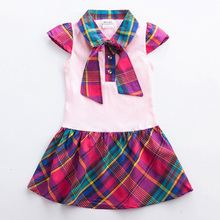 Girls short-sleeved plaid dress summer new cotton bow childrens wear girls school for girl H5023