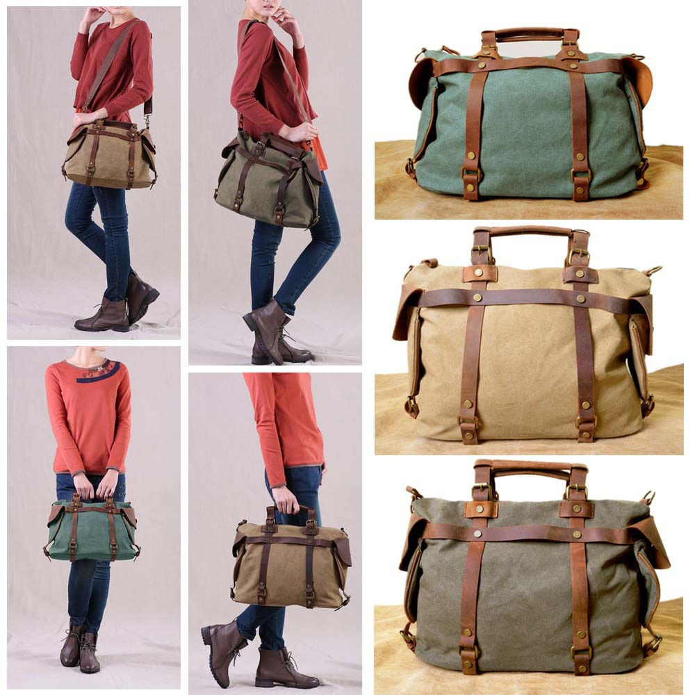 Wholesale hot new Vintage Retro Women's Canvas Leather Weekend ...
