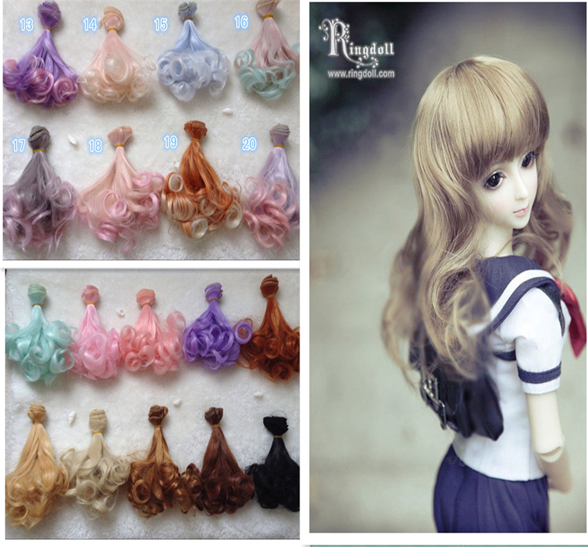 1 pcs  15cm  25cm BJD Wigs  High-temperature wire  Curly  Hair Piece synthetic hair doll hair wigs for 1 3 1 4 1 6 bjd wigs high temperature wire fashion curly hair piece for bjd sd dollfie 1pcs 25cm 100cm
