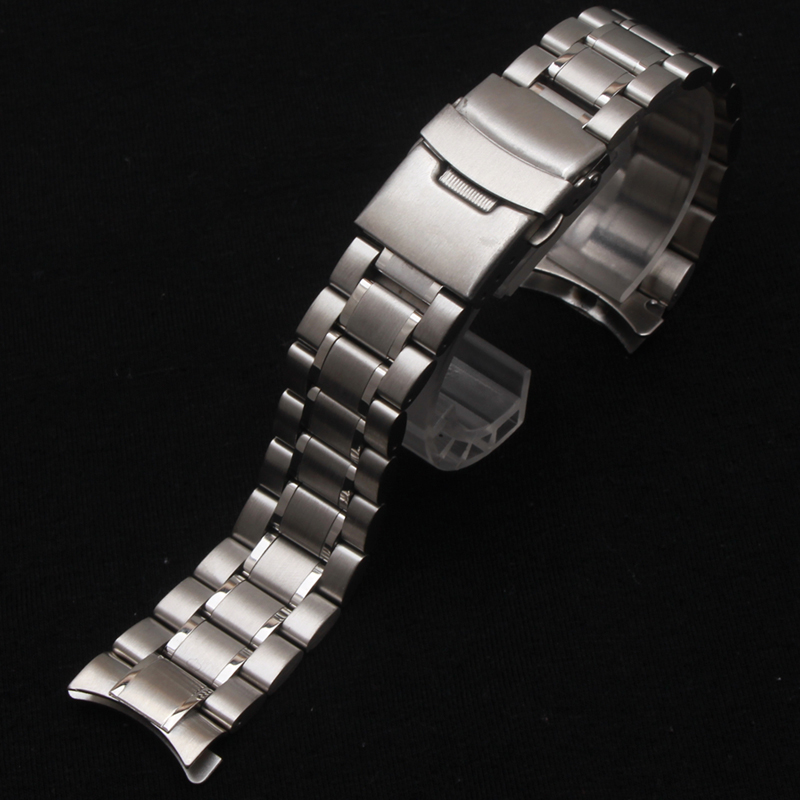 Classic Watchband Stainless Steel Metal Watche band Curved end 18MM 20MM 22MM 24mm Silver fit Men Watches Hours safety buckle loose stainless steel silver shark mesh watchband bracelets special end safety buckle 18mm 20mm 22mm 24mm promotion men s straps