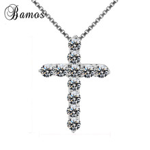 Bamos Lucky Female Ladies Cross Crystal Pendant Necklace 925 Silver Ro