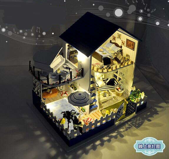 New arrive Christmas GIFT  DIY Aegean Sea Wooden Doll House With Furniture Dolls with music 3D Puzzle DollHouse Toy GiftsNew arrive Christmas GIFT  DIY Aegean Sea Wooden Doll House With Furniture Dolls with music 3D Puzzle DollHouse Toy Gifts