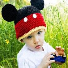 2016 New Brand Mickey Hats Newborn Photography Props Children Handmade Hat Black Wool Cap Cotton Baby Suit Animal Costume Gorros