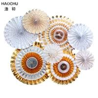 HAOCHU One Set Round Wheel Paper Fan Gold Silver Stripe Dots Tissue Hanging Craft Birthday Party