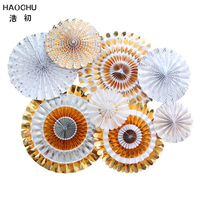 HAOCHU One Set Round Wheel Paper Fan Gold Silver Stripe Dots Tissue Hanging Craft Birthday Party Christmas Event Decor Supply