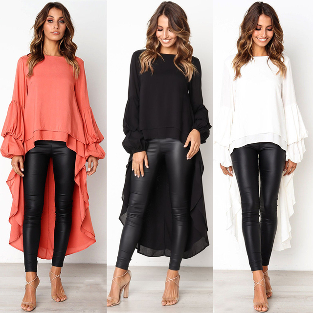 79d83e047c28 2019 Ladies Fall New Long Blouse Fashion Puff Sleeve Baggy Asymmetric Chiffon  Long Shirts Lantern Long Sleeve Top Blusa Feminina
