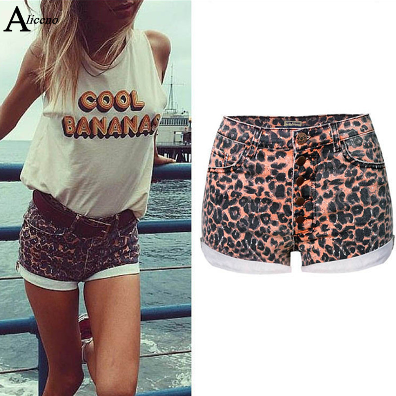 ALICENO Leopard Short Jeans Elastic Sexy High-Waist Summer Women W19032503