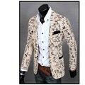 Мужская Slim Fit Отпечатано Цветочные Blazer Пальто Куртки 2016 Повседневная Костюм Белье Цветок Куртки Blazer Одежда Платье Плюс Размер M-XXL