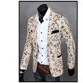 Mens Slim Fit Impreso Floral Blazer Jacket Coat 2016 Casual Traje de Lino Flor Chaquetas Blazer Ropa de Vestir Más El Tamaño M-XXL