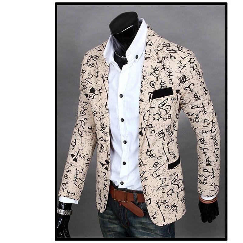 f3b4e30786f8 Mens Slim Fit Printed Floral Blazer Jacket Coat 2017 Casual Suit Linen  Flower Jackets Blazer Dress Clothes Plus Size M-XXL