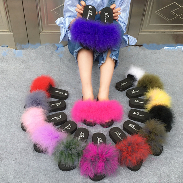 e411c1021528 Home Slippers Fluffy Fox Hair Fur Slides Women Ostrich Cute Sweet Pink Size  44 Sandals Beach Shoes Summer Pantufa Flip Flops Hot
