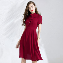 Dress Summer Woman Chiffon 2019 New Stand Collar Bow Short Sleeved Solid Color Slim A-Line Elegant Dress Knee Length M-XXL