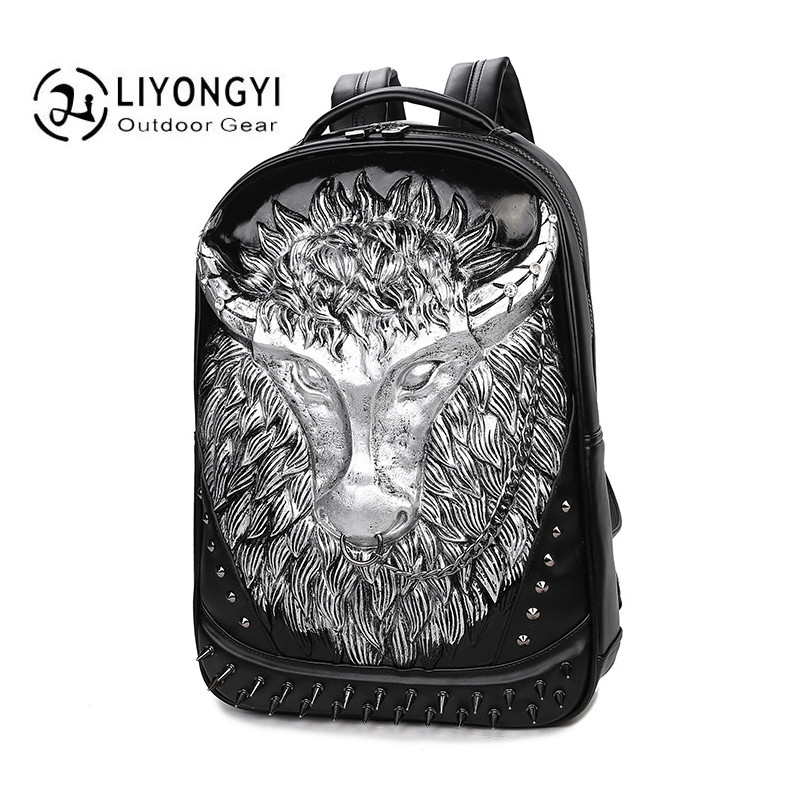 Fashion 3D Oxhead Women And Men Backpack PU Leather For Teenagers Boys Casual High Capacity Trendy School Bags Travel Backpacks new men s pu leather solid business backpack fashion casual travel high capacity