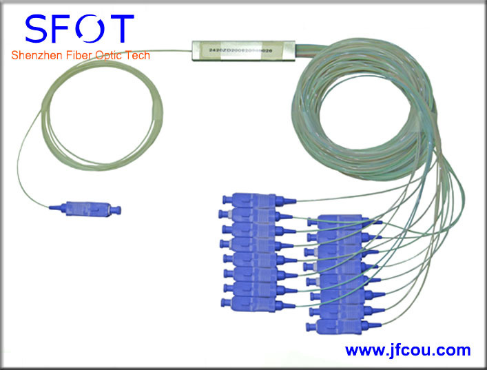 FTTH accessories In Line SC PC 1x16 Port Mini PLC Splitter steel tube type with connectors
