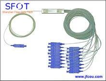 FTTH accesorios En Línea SC/PC 1×16 Puertos Mini PLC Splitter, tipo de tubo de acero, con conectores, SM, 0.9mm, 1 M, para GPON EPON
