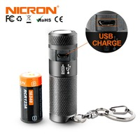 NICRON 3W High Brightness Mini LED Flashlight Light Waterproof IPX4 2000cd LED USB Rechargeable Torch Lantern