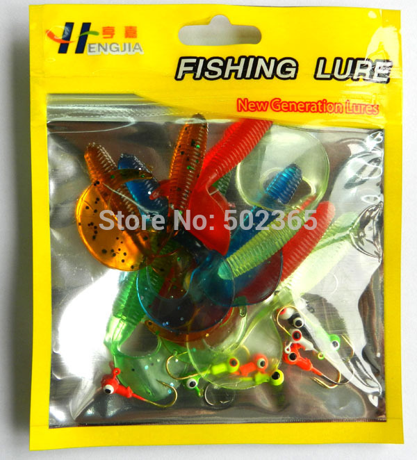 500sets 10 soft bait small 10 lead head hook carp lure fishing tackle bag Worm Fishing Lure set Grub fly Fishing Lures Tube Kits