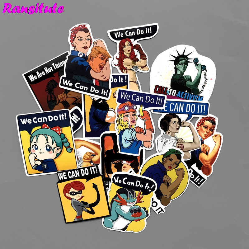 R205 14pcs/set We Can Do It Retro Poster Fun Sticker Toy Luggage Sticker Motorcycle And Suitcase Notebook Sticker