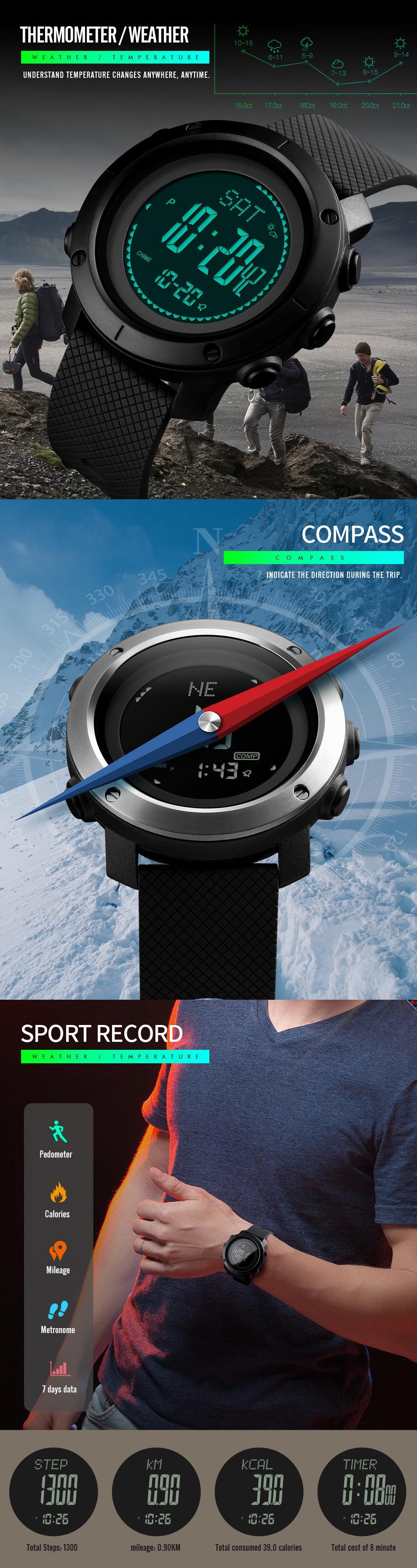 SKMEI Altimeter Barometer Thermometer Altitude Men Digital Watches Sports Clock Climbing Hiking Wristwatch Montre Homme 1418 9