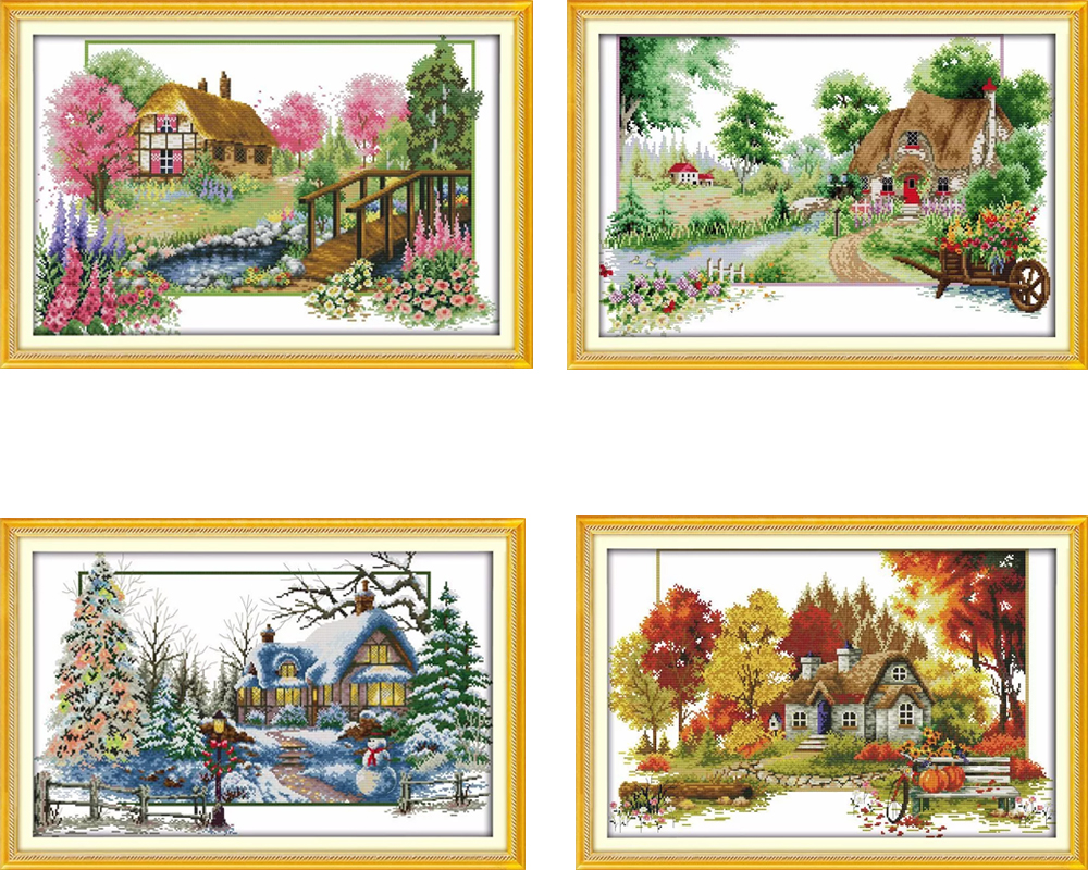 Learned Embroidery Package Cross Stitch Kits Unopen New Luxurious Spring Of Four Season Diy Handicraft Embroidery Kit Free Shipping Cross-stitch Package