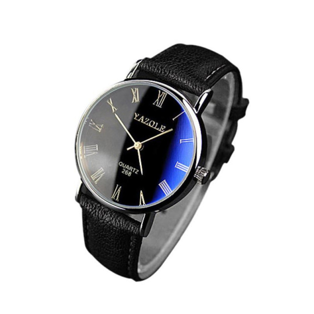 Classic Luxury Fashion Leather Strap Watch Men  3