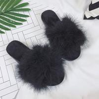 6 Colors Sweet Candy Color Summer Women Real Natural Feather Turkey Fur Fuzzy Slippers Slides Mules