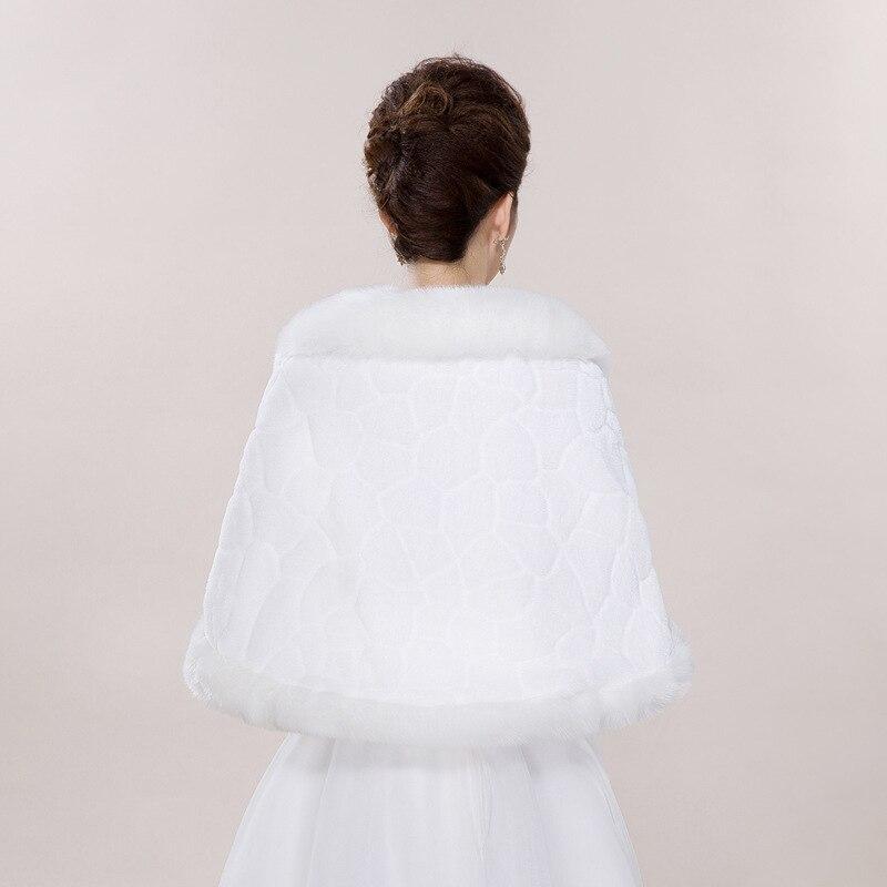 Image 4 - Winter Wedding Shawl For Bride White Fax Fur Wedding Wrap  Cape With Crystals Bridal Jackets Wedding CoatsWedding Jackets / Wrap   -