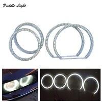 """ממ עבור רכב-סטיילינג 1 SET (2X 106mm + 2X 131 מ""""מ) לבן Halo כותנה אור המכונית SMD העיניים LED Angel עבור אוטומטי מקרן הלא BMW E90 (1)"""