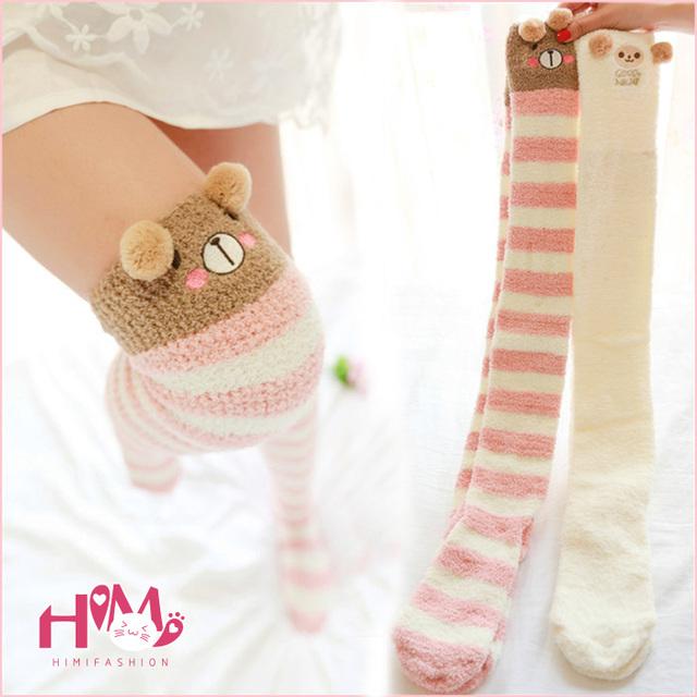 Ouvido urso de impressão do velo dos desenhos animados leggings mulheres venda quente em casa desgaste longo kawaii bonito quente meninas inverno das mulheres da manta meias