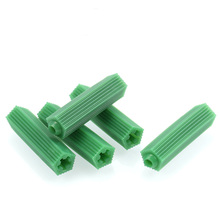 цена на 200pcs Green Masonry Screw Fixing Wall Anchor Expansion Tube Drywall Plastic Anchor Wall Plug Masonry Drill Dry M6 M8